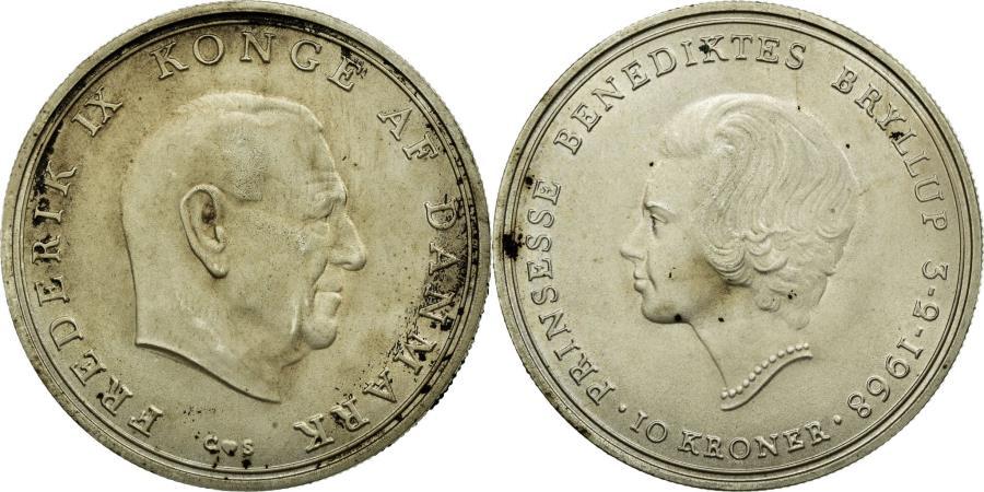 World Coins - Coin, Denmark, Frederik IX, 10 Kroner, 1968, AU(55-58), Silver, KM:857