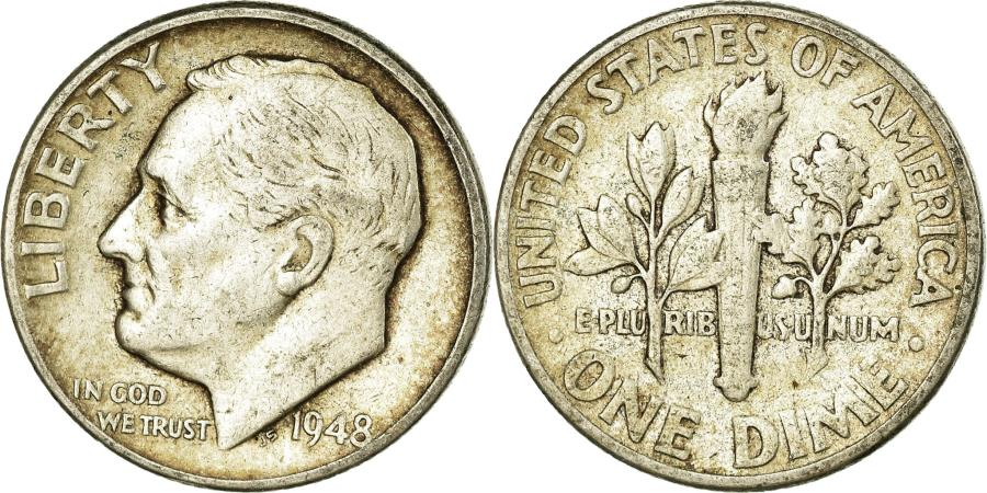 US Coins - Coin, United States, Roosevelt Dime, Dime, 1948, U.S. Mint, Philadelphia