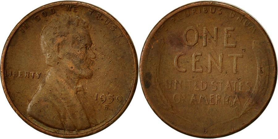 US Coins - Coin, United States, Lincoln Cent, Cent, 1950, U.S. Mint, San Francisco