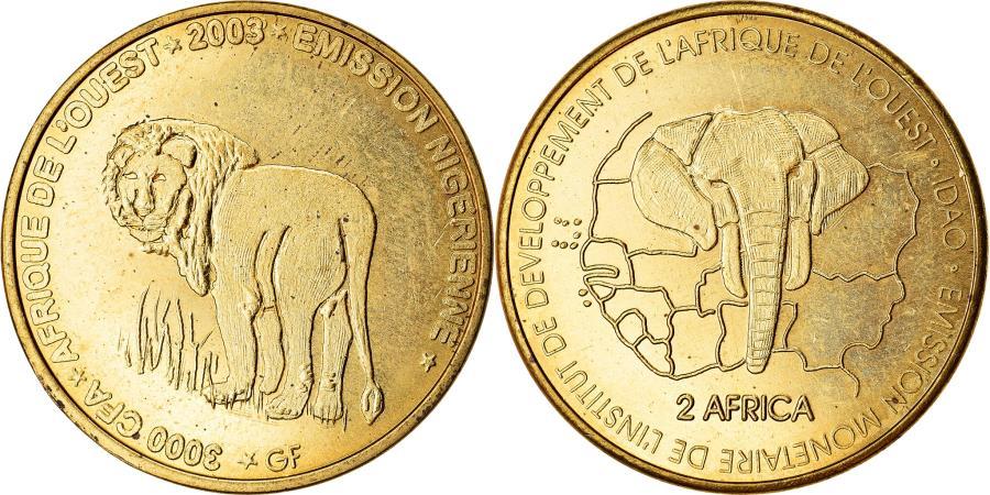 World Coins - Coin, Niger, 3000 CFA Francs-2 Africa, 2003, Lion, , Brass, KM:12