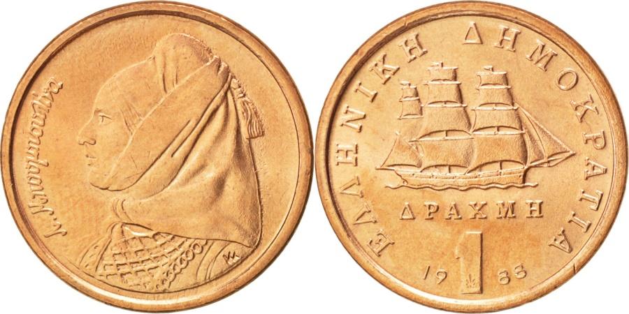 World Coins - GREECE, Drachma, 1988, Athens, KM #150, , Copper, 18, 2.73
