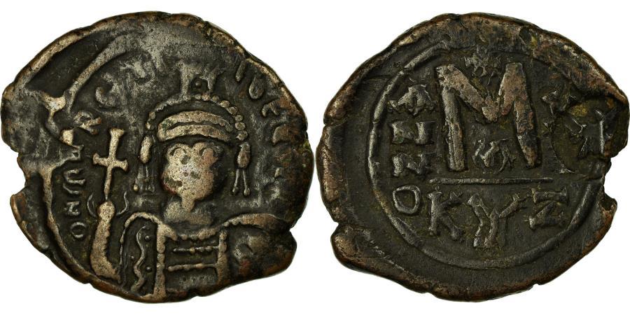 Ancient Coins - Coin, Maurice Tiberius, Follis, 582-602, Kyzikos, Countermark,