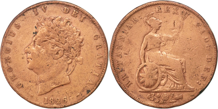 World Coins - GREAT BRITAIN, 1/2 Penny, 1826, KM #692, , Copper, 9.33