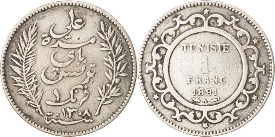 World Coins - Tunisia, Ali Bey, Franc, 1891, Paris, , Silver, KM:224