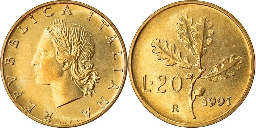 World Coins - Coin, Italy, 20 Lire, 1991, Rome, , Aluminum-Bronze, KM:97.2
