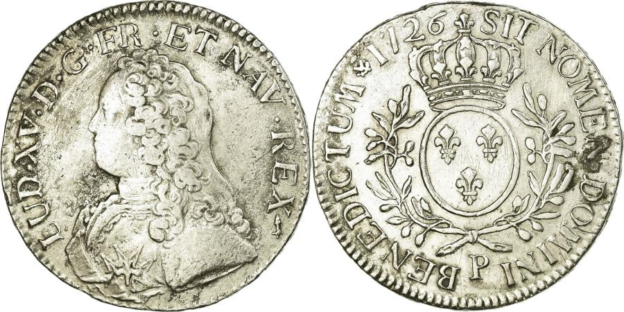 World Coins - Coin, France, Louis XV, Écu aux branches d'olivier, Ecu, 1726, Dijon