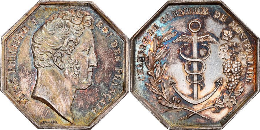 World Coins - France, Token, Louis Philippe, Chambre de Commerce de Montpellier, Dubois