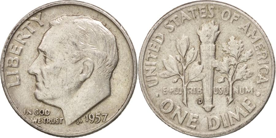 US Coins - United States, Roosevelt Dime, Dime, 1957, U.S. Mint, Denver, , Silver