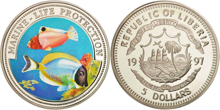 World Coins - Liberia, 5 Dollars Marine Life Protection, 1997, , Silver