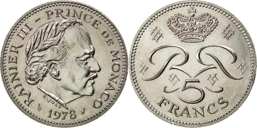 World Coins - MONACO, 5 Francs, 1978, KM #150, , Copper-Nickel, 29, Gadoury #153,...