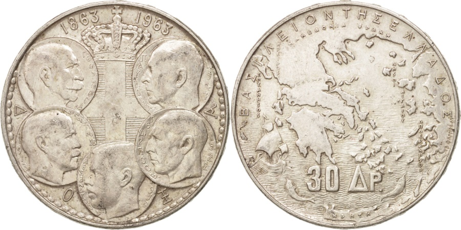 World Coins - Greece, Paul I, 30 Drachmai, 1963, , Silver, KM:86
