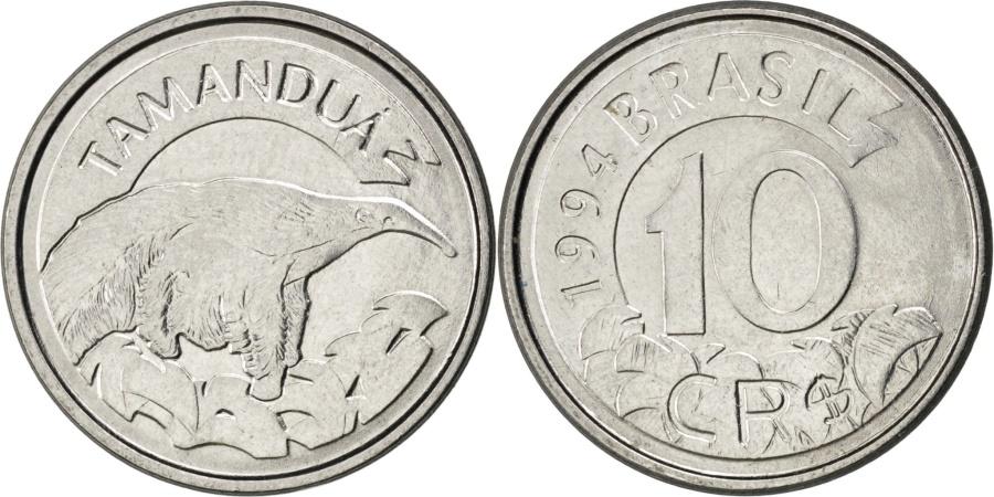 World Coins - BRAZIL, 10 Cruzeiros Reais, 1994, KM #628, , Stainless Steel, 22, 3.59