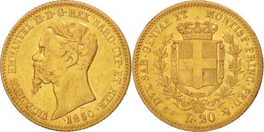 Italian states sardinia vittorio emanuele ii 20 lire for Coin torino