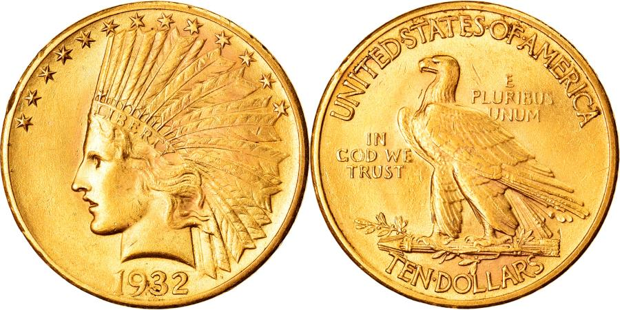 US Coins - Coin, United States, Indian Head, $10, Eagle, 1932, U.S. Mint, Philadelphia