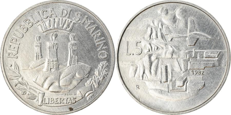 World Coins - Coin, San Marino, 5 Lire, 1982, Rome, AU(55-58), Aluminum, KM:133