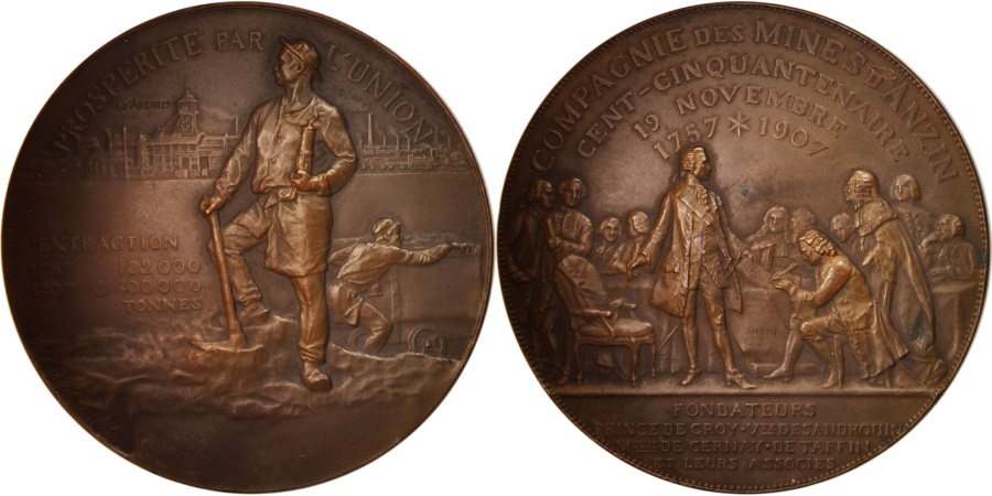 World Coins - France, Medal, Compagnie des Mines d'Anzin, Business & industry, 1907