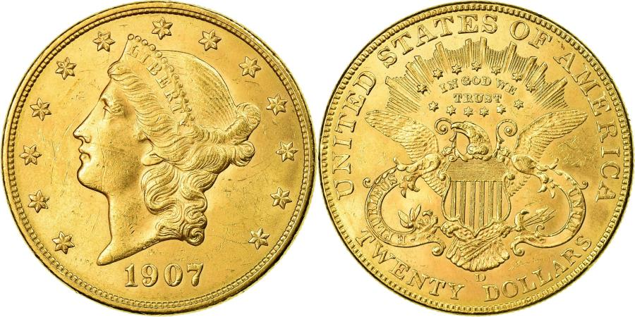 US Coins - Coin, United States, Liberty Head, $20, Double Eagle, 1907, U.S. Mint, Denver