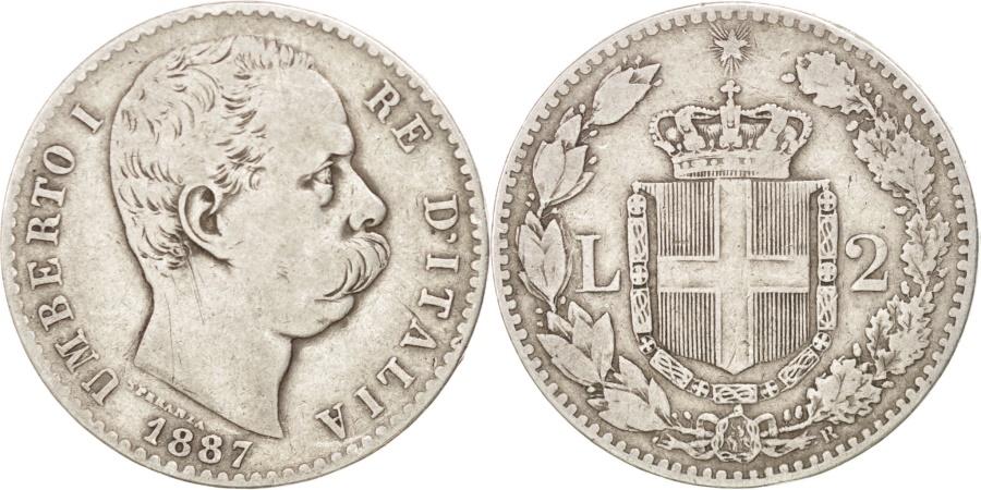 ITALY, 2 Lire, 1887, Rome, KM #23, , Silver, 9 78