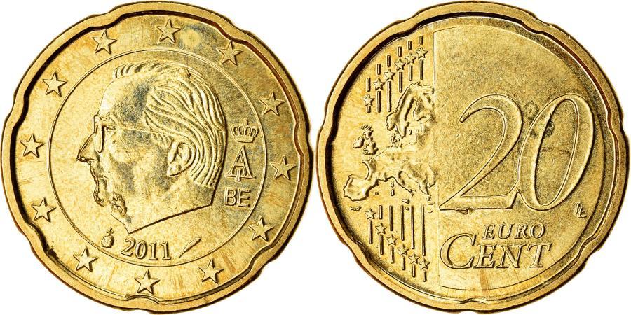 World Coins - Belgium, 20 Euro Cent, 2011, , Brass, KM:278