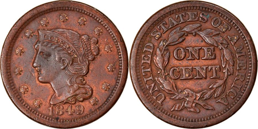 US Coins - Coin, United States, Braided Hair Cent, Cent, 1849, U.S. Mint, Philadelphia
