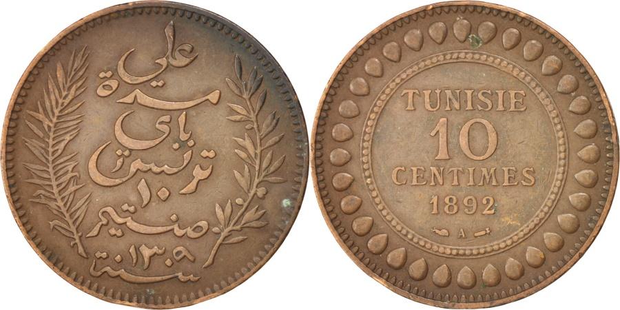 World Coins - TUNISIA, 10 Centimes, 1892, Paris, KM #222, , Bronze, Lecompte #95,...
