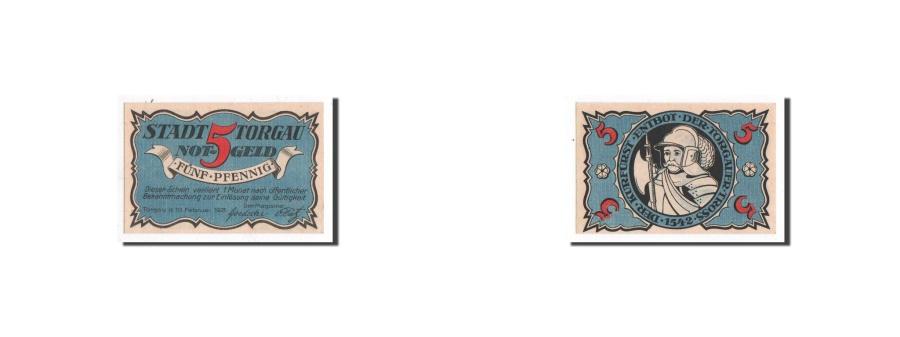 World Coins - Germany, Torgau, 5 Pfennig, chevalier, 1921-02-10, UNC(65-70), Mehl:1331.3