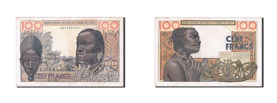 World Coins - West African States, 100 Francs, 1961, KM #101Ab, 1961-03-23, EF(40-45), L.174 A