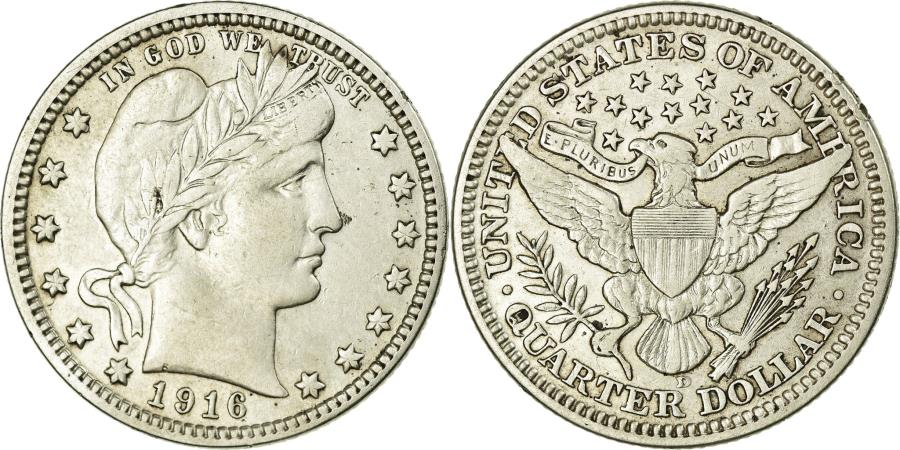 US Coins - Coin, United States, Barber Quarter, Quarter, 1916, U.S. Mint, Denver