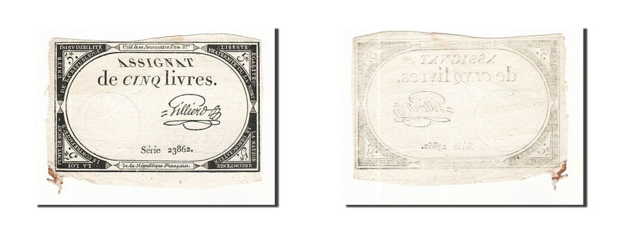 World Coins - France, 5 Livres, 1793, Gilliers, KM:A76, 1793-10-31, EF(40-45), Lafaurie:171