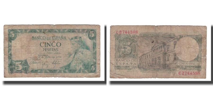 Banknote, Spain, 5 Pesetas, 1954, 1954-07-22, KM:146a, F(12-15)