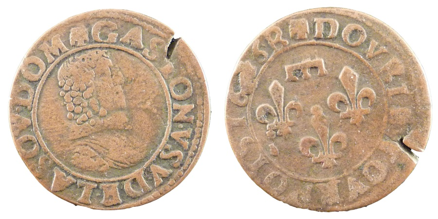 World Coins - FRENCH STATES, Double Tournois, 1636, KM #32, , Copper, 20.5-22.5,...