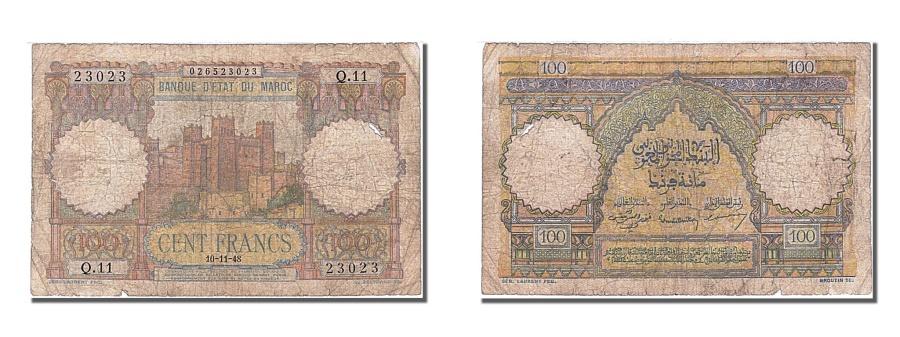 World Coins - Morocco, 100 Francs, 1948, KM #45, 1948-11-10, VF(30-35), Q.11 23023