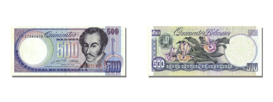 World Coins - Venezuela, 500 Bolívares, 1990, KM #67d, 1990-05-31, AU(55-58), H