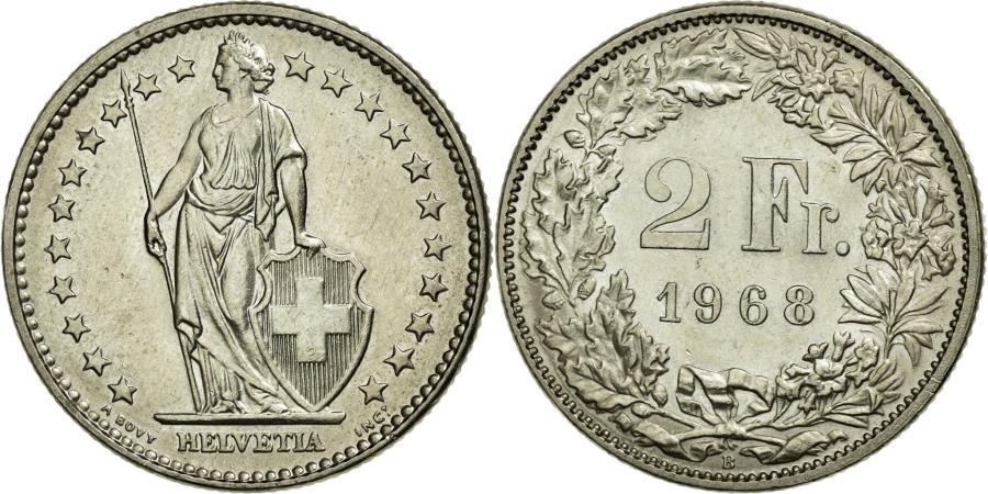 World Coins - Coin, Switzerland, 2 Francs, 1968, Bern, AU(55-58), Copper-nickel, KM:21a.1