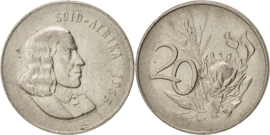 World Coins - South Africa, 20 Cents, 1965, , Nickel, KM:69.2