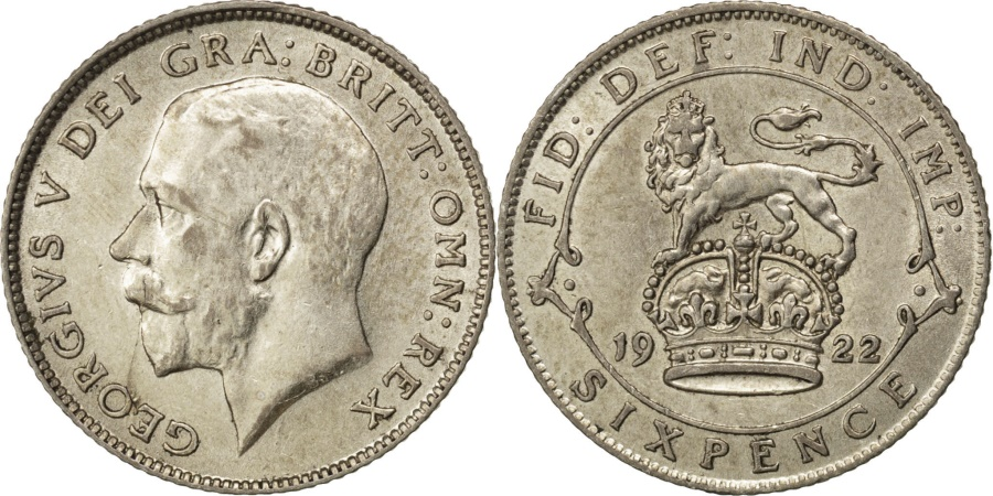 World Coins - GREAT BRITAIN, 6 Pence, 1922, KM #815a.1, , Silver, 19.5, 2.81