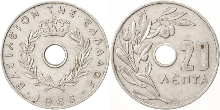 World Coins - Greece, 20 Lepta, 1966, , Aluminum, KM:79