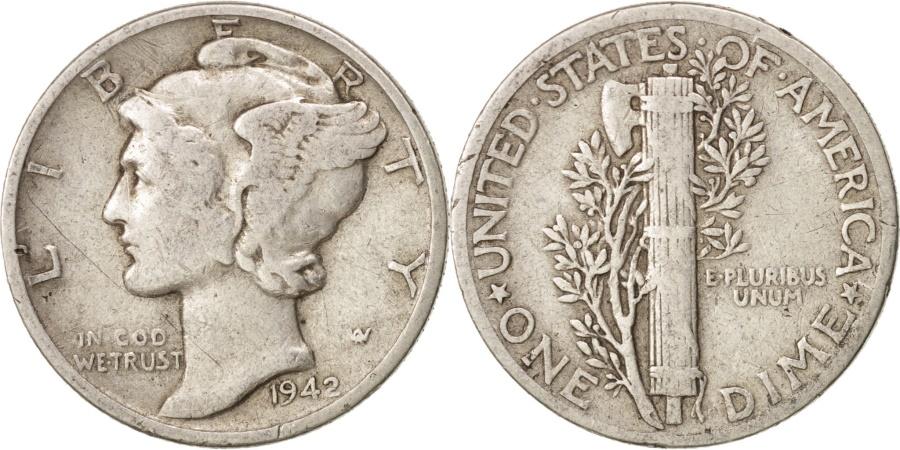 US Coins - United States, Mercury Dime, Dime, 1942, U.S. Mint, Philadelphia,