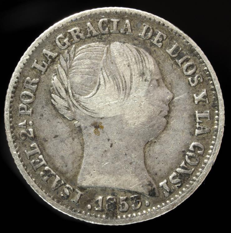 Ancient Coins - 1853, 1 Silver Real Isabel II, Barcelona Mint - 14 mm / 1.38 gr.