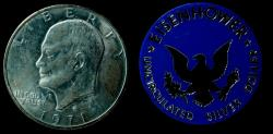 Us Coins - USA, 1 dolar Eisenhower 1971 ( with medal) 38 mm / 26,9 gr