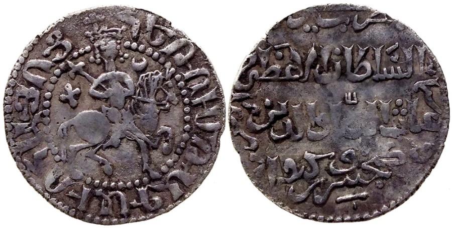 World Coins - SELJUQ of RUM KAYKHUSRAW II & HETOUM I BILINQUAL TRAM AH 640 SIS MINT RR