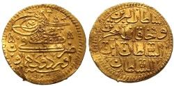 World Coins - OTTOMAN AU GOLD CADID ASHRAFI MUSTAFA II ORDUYU MUHAYUN 1106 AH RRR