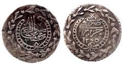 World Coins - OTTOMAN ALGERIA MAHMUD II AR 1/6 BUDJU AH 1245 JAZAIR 1.4 GR & 18,01 MM