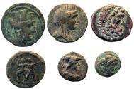 Ancient Coins - 6 GREEK Æ COINS