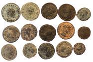 Ancient Coins - 15 ROMAN IMPERIAL Æ FOLLIS COINS