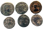 Ancient Coins - 6 ROMAN IMPERIAL Æ FOLLIS COINS