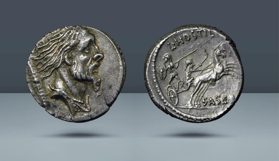 Ancient Coins - ROMAN REPUBLIC. L. Hostilius Saserna. 48 BC. AR Denarius
