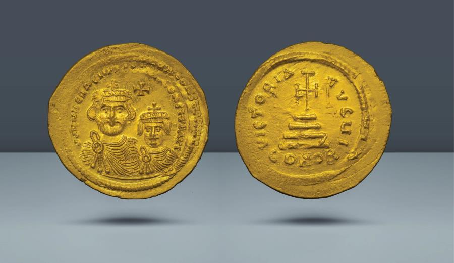 Ancient Coins - Heraclius, with Heraclius Constantine. 610-641 AD. Constantinople, c. 613-616 AD. AV Solidus