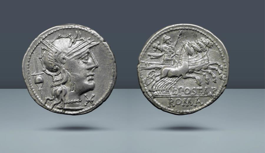 Ancient Coins - ROMAN REPUBLIC. L. Postumius Albinus. Rome, c. 131 BC. AR Denarius. Comes with export license from Italy