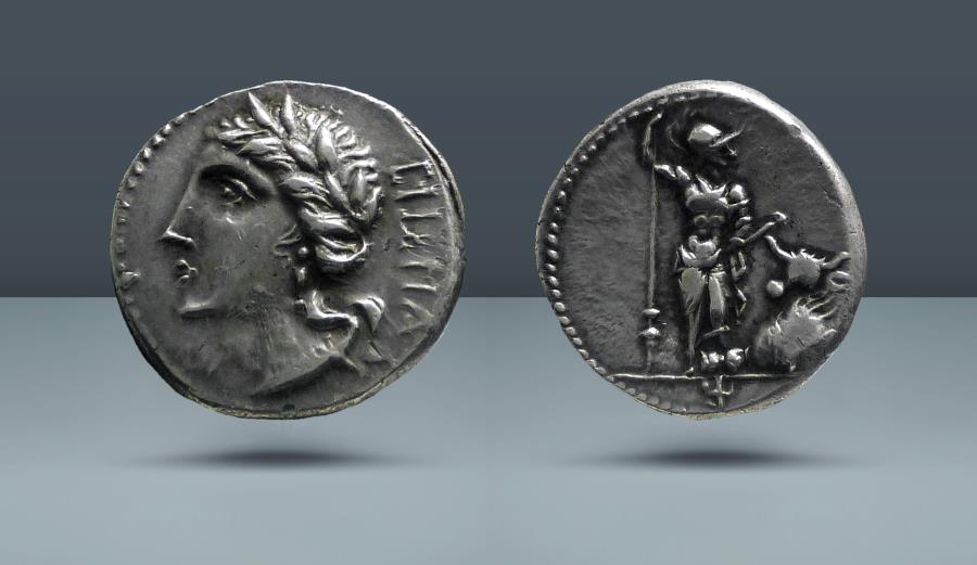 Ancient Coins - Roman Social War. Bovianum (?), 89 BC. AR Denarius. Ex Glendining's, London, 20 Feb 1972, lot 157